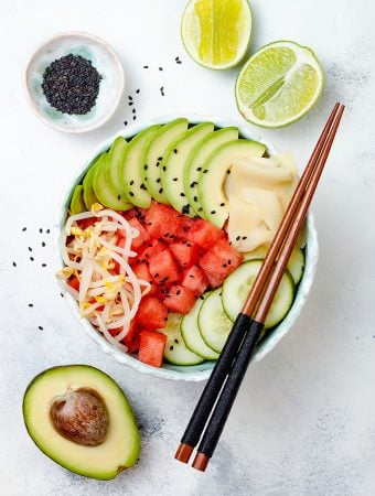 Hawaiian vegan poke bowl with watermelon, avocado, cucumber