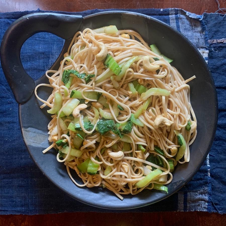Bok choy hoisin ginger noodles