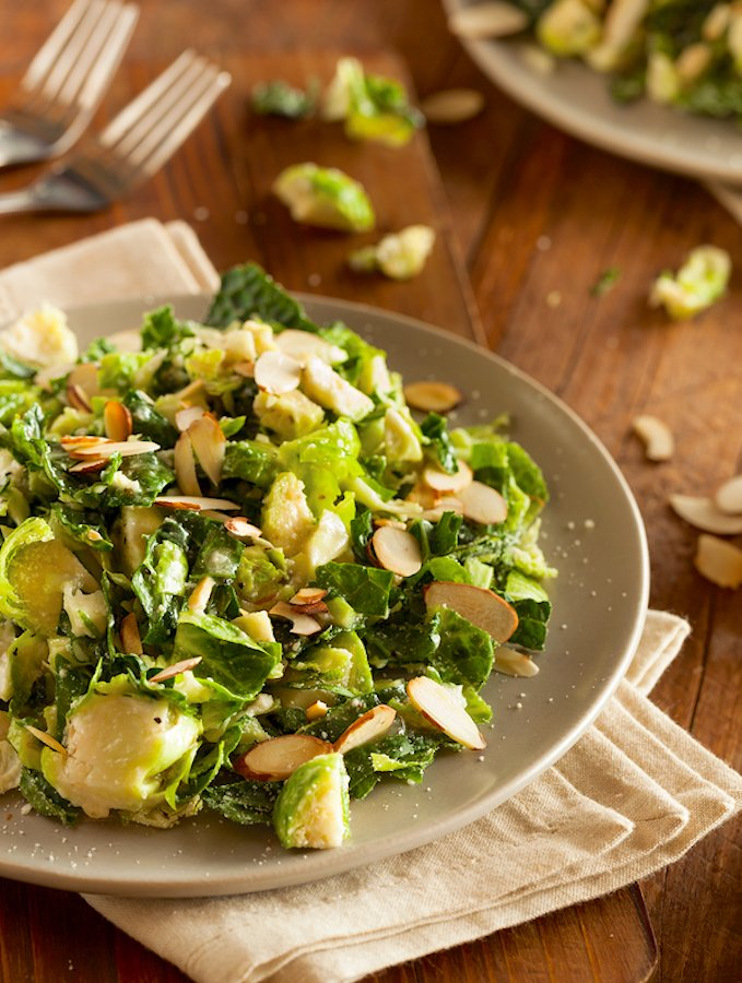 Kale And Brussels Sprouts with Toasted Almonds