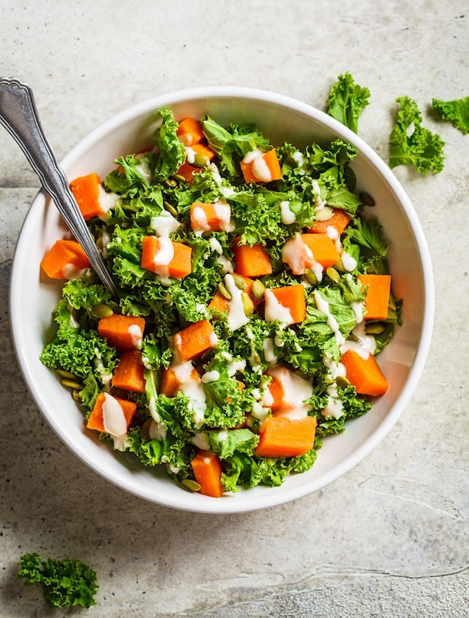 Kale and Roasted Sweet Potato with Tahini Dressing