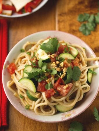 Noodles with Zucchini & Spicy Peanut Sauce