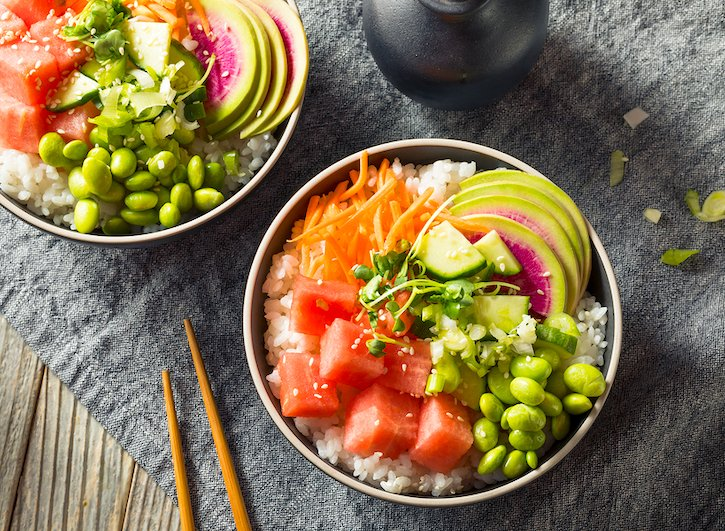 Vegan poke bowl with watermelon & watermelon radish
