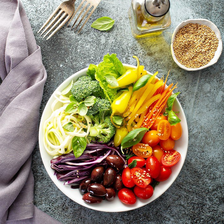 Raw Vegetables Rainbow Bowl