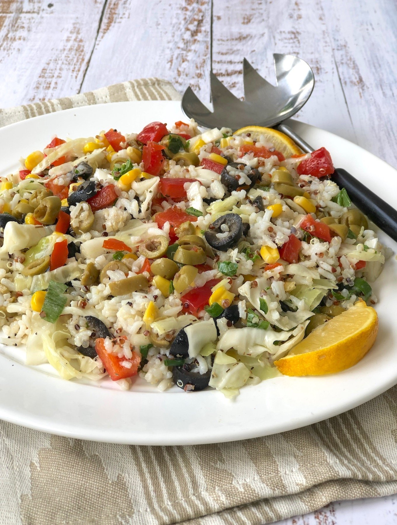 Rice Salad with Olives and Bell Pepper