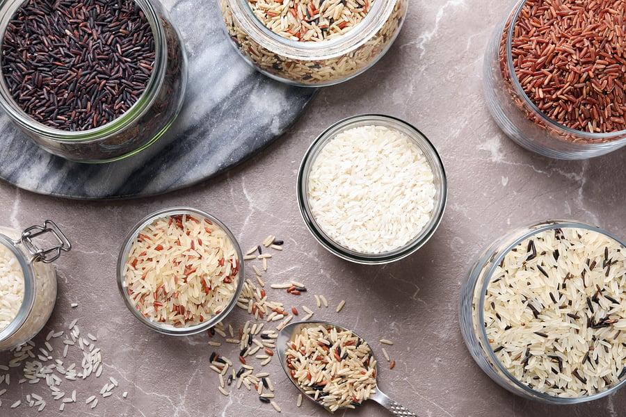 rice varieties - blends, white, black