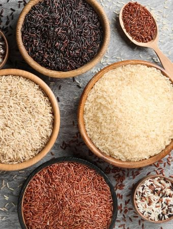 Red, black, & white rice varieties