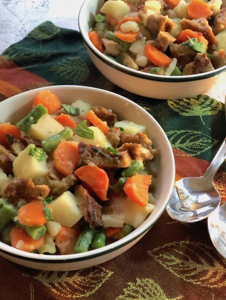 Seitan Stew with potatoes, carrots, & green beans