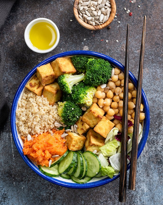 Vegan Buddha Bowl With Quinoa, Tofu, Broccoli, Sweet Potato, Cucumber
