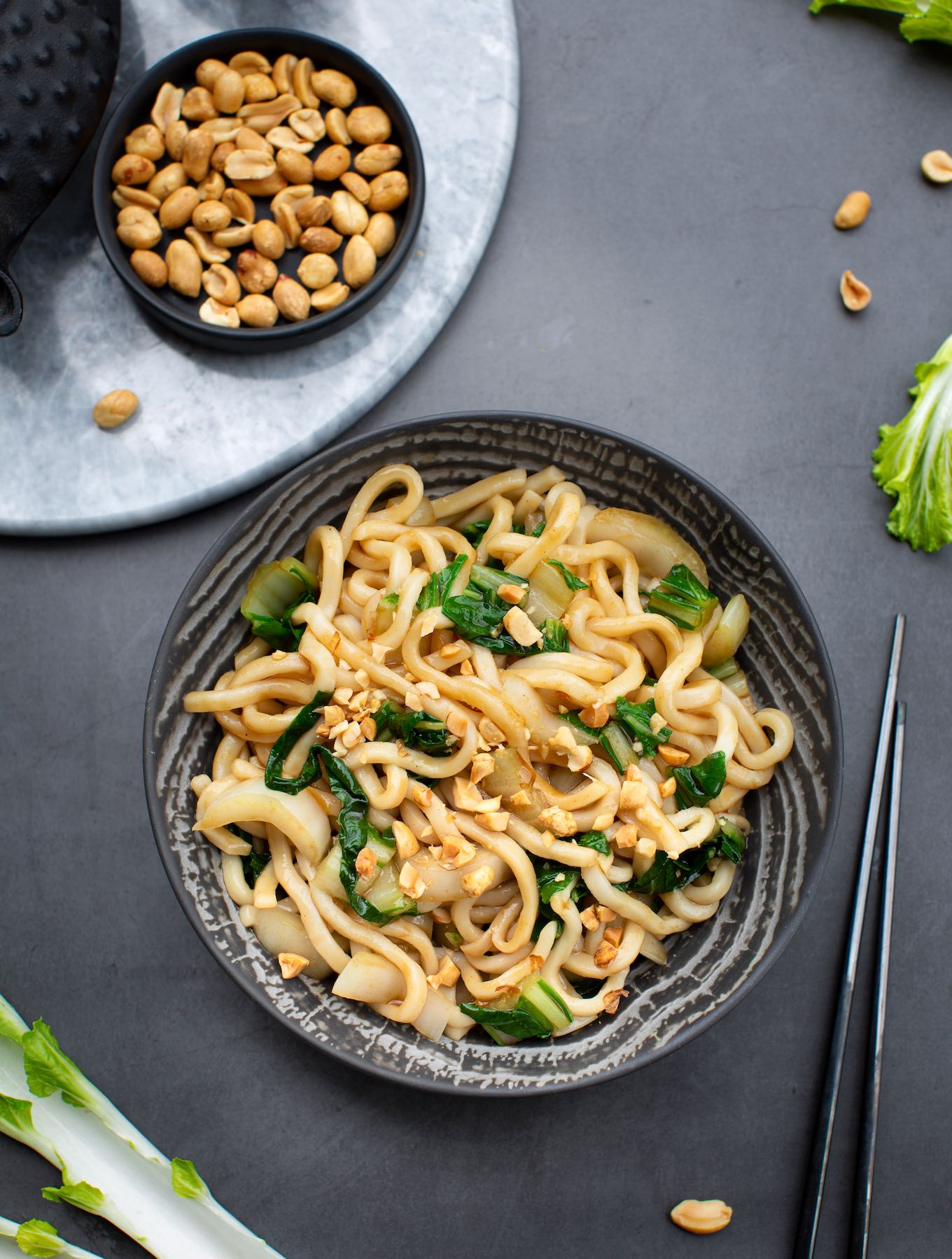 Udon noodles with bok choy