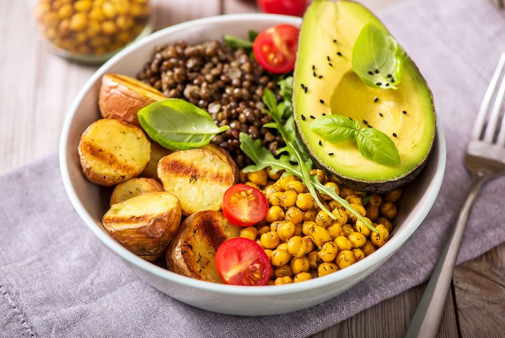 Vegan Bowl With sauteed potatoes, lentils, and chickpeas
