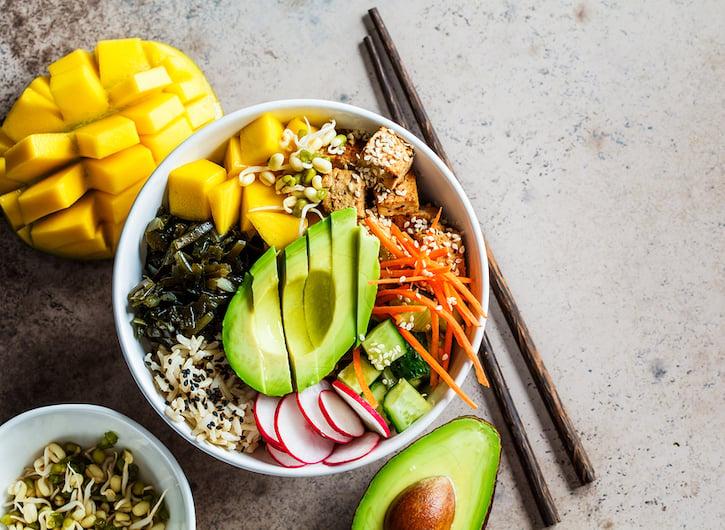 Vegan Poke Bowl avocado, seaweed, carrot, tofu, mango