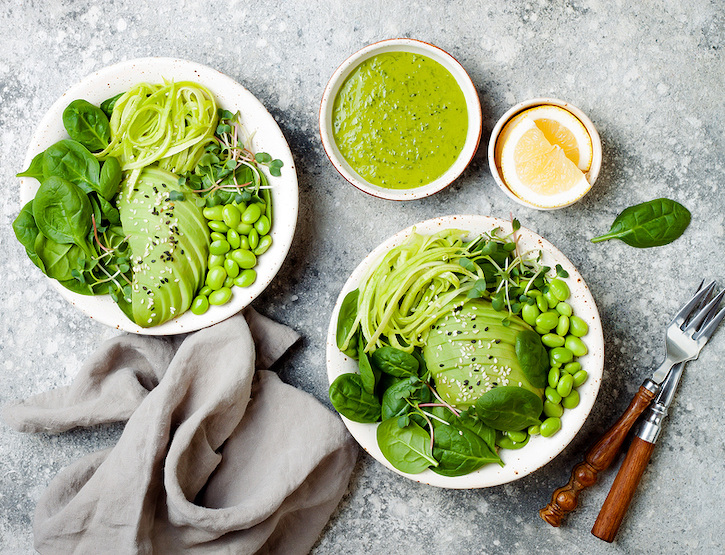 Vegan, Detox Bowl With Avocado, Spinach, Micro Greens, Edamame Beans, Zucchini Noodles