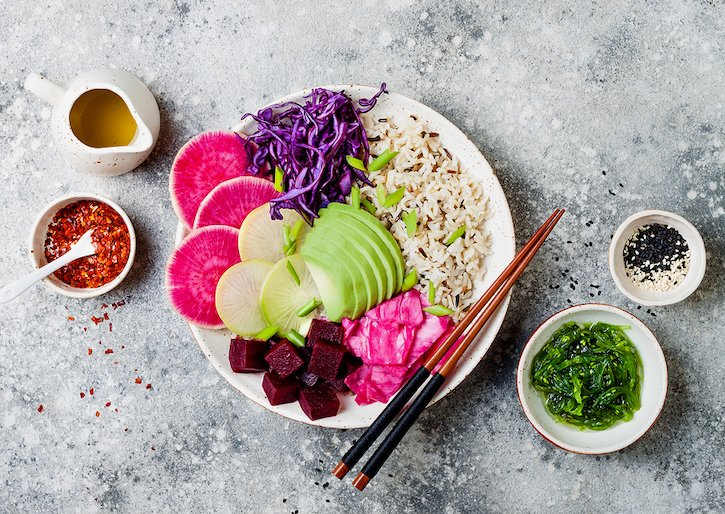 Vegan Bowl With Avocado, Beet, Red Cabbage, Radishes