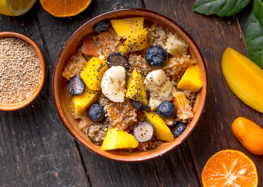 Quinoa breakfast bowl with fresh fruit
