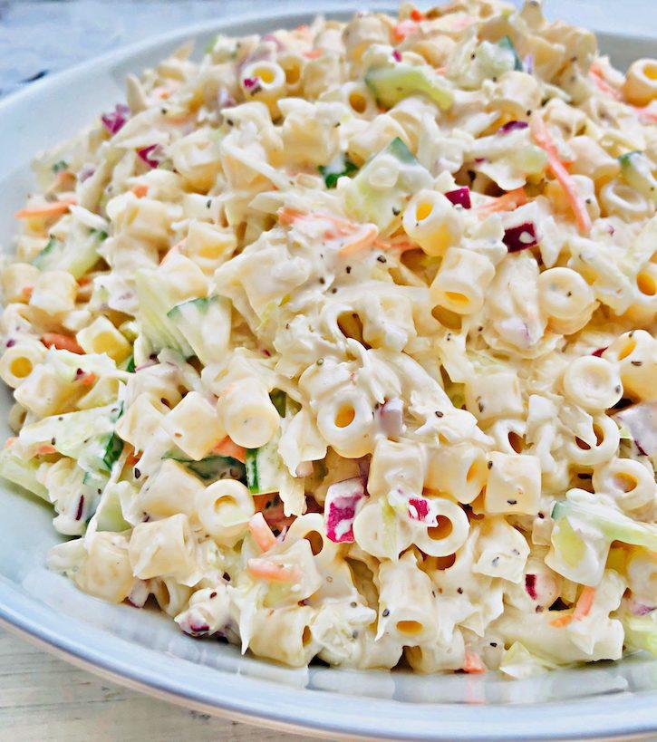 Vegan coleslaw pasta salad