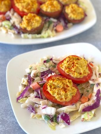 Vegan chickpea deviled tomatoes