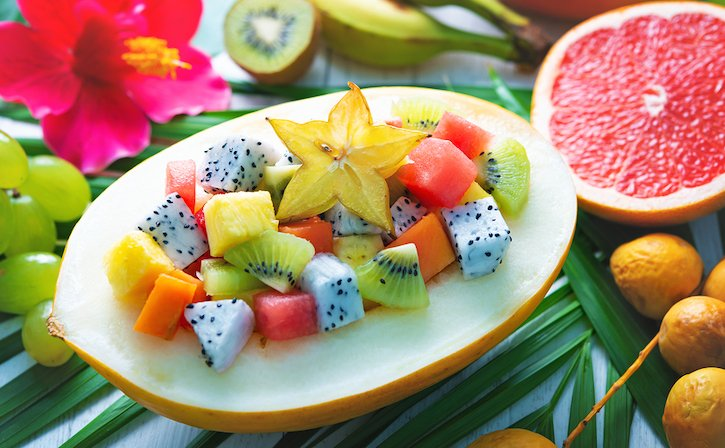 Tropical and exotic fruits salad