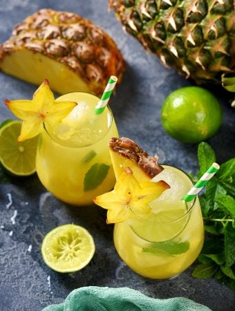 Pina colada mocktail with coconut, lime, and mint