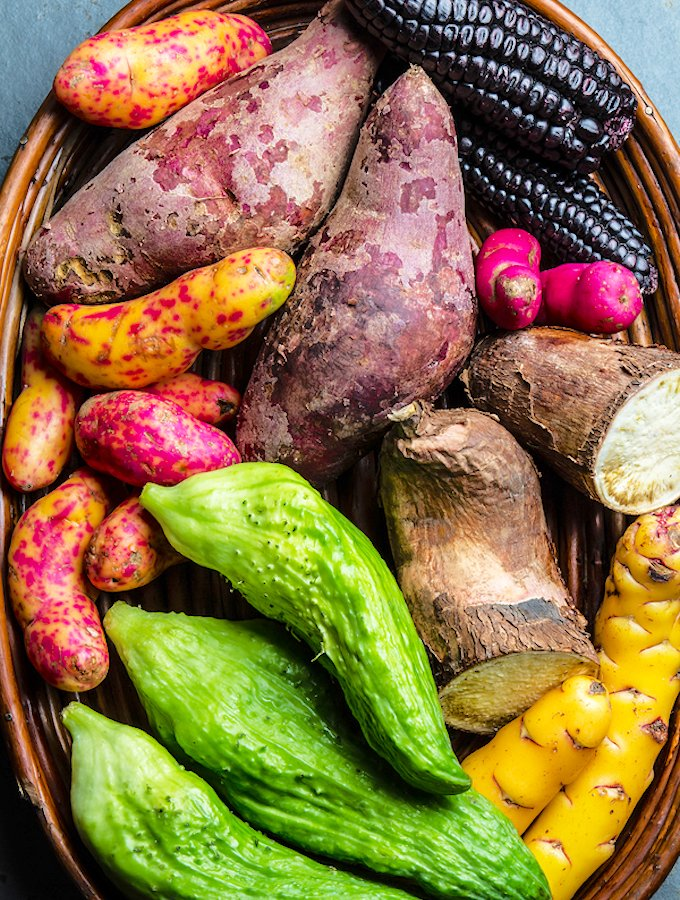Fresh Latin American Vegetables Caigua, Sweet Potatoes, Black Corn, Camote, Yuca