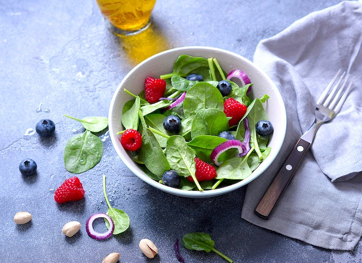 Classic Spinach Salad with summer berries