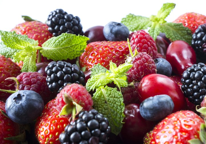 Ripe Strawberries, Blackberries, Blueberries, Raspberries