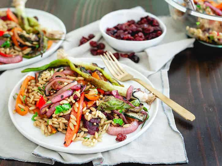 Tart Cherry Balsamic Grilled Summer Vegetable Orzo Salad