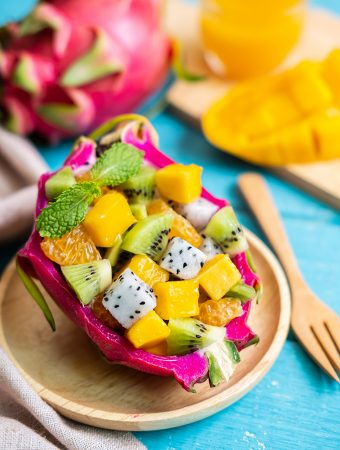 Mixed Tropical and Exotic Fruit served in Dragon Fruit