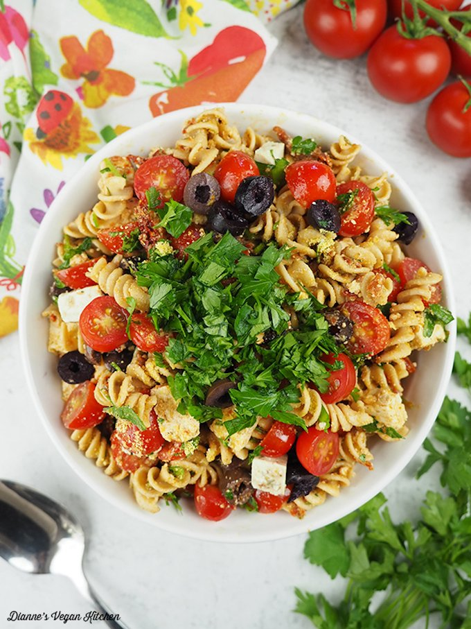 Vegan tomato and feta pasta salad