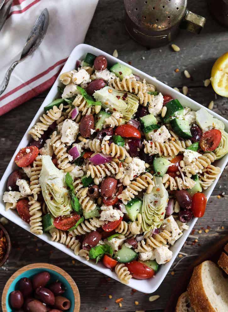 mediterranean pasta salad with tofu feta