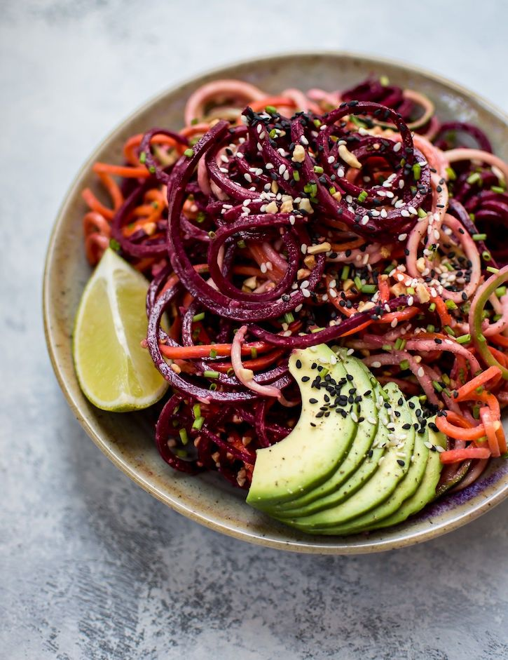 rainbow noodle salad with sesame dressing