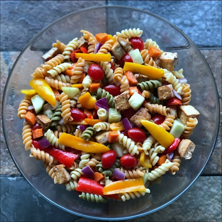 colorful tofu pasta salad
