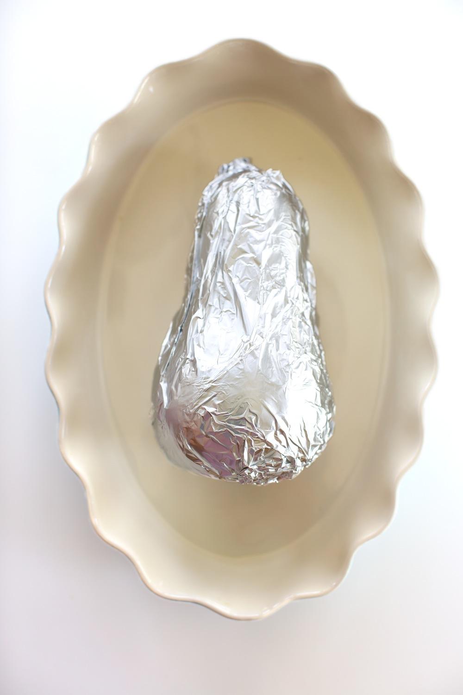 Butternut squash wrapped in foil