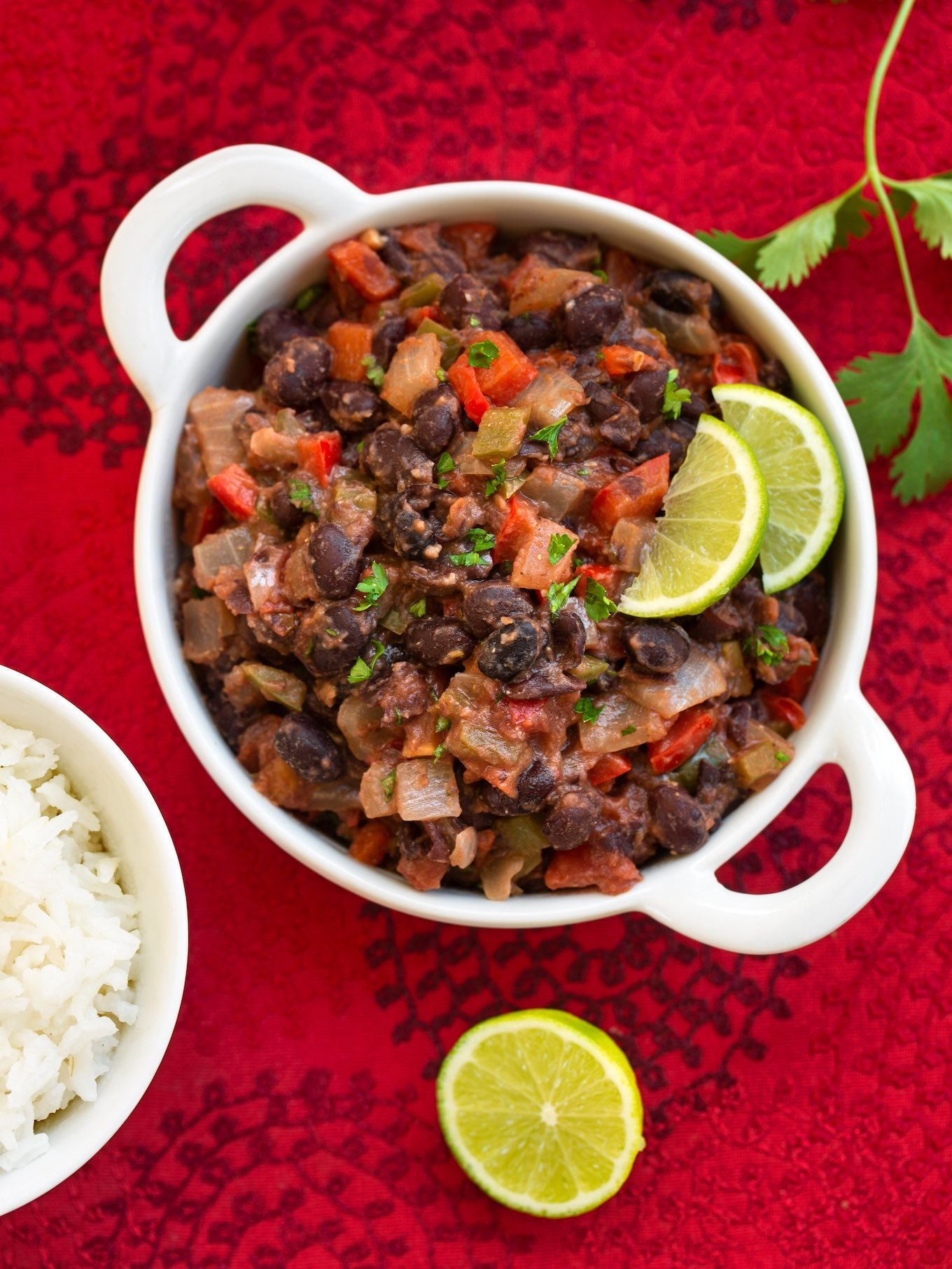 Vegan black beans with sofrito