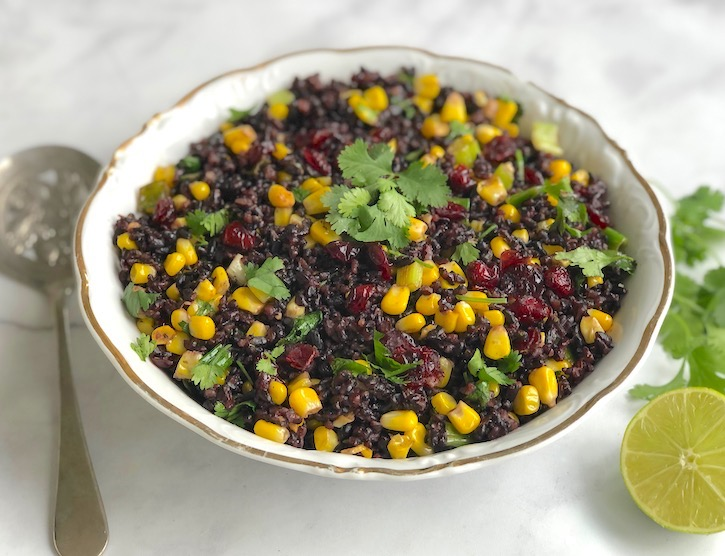 Black forbidden rice with corn and cranberries