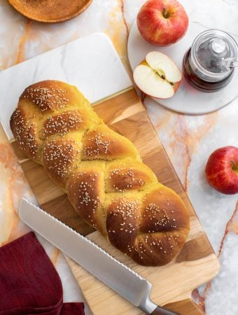 Vegan Challah and apples for Jewish New Year