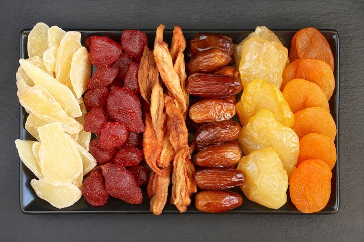 Different varieties of dried fruits