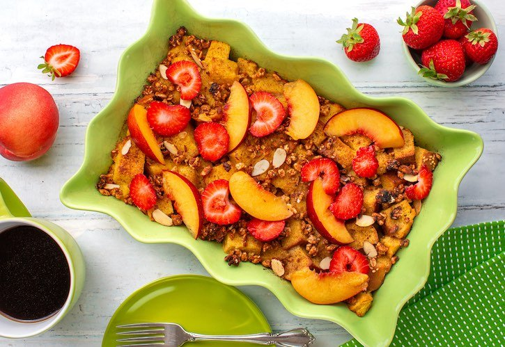 Vegan French toast casserole with fresh fruit