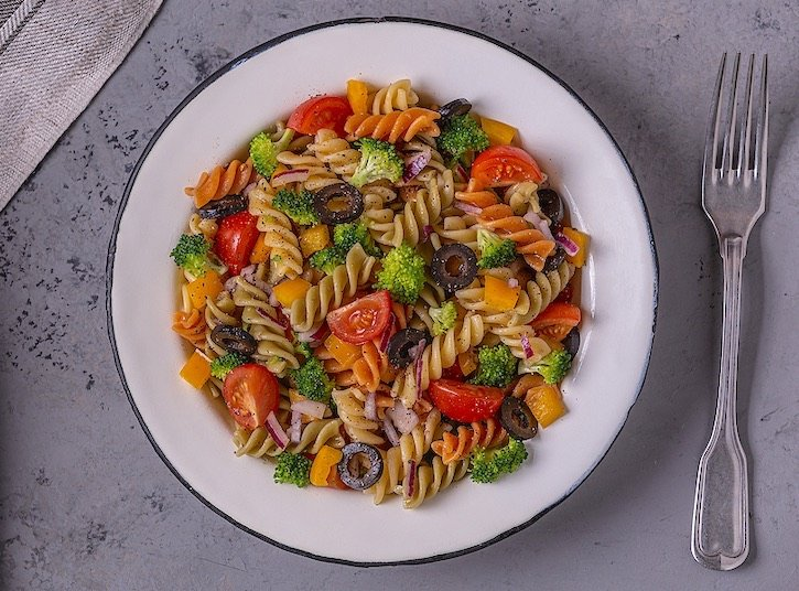 Pasta Salad With Cherry Tomatoes, Broccoli, & Black olives