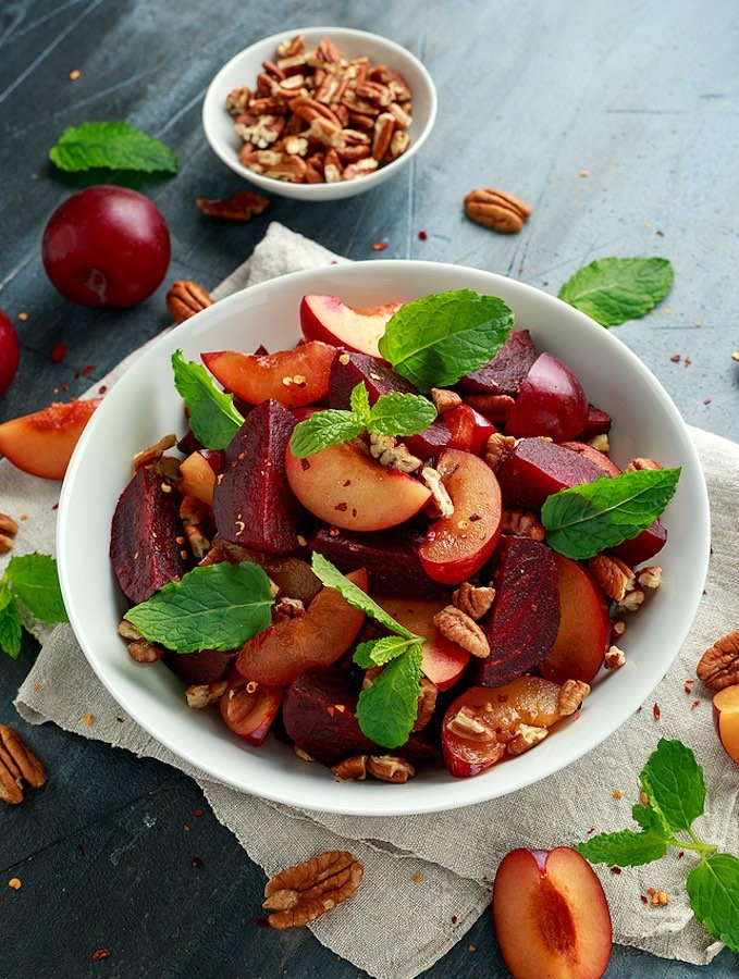 Summer plum and beet salad with walnuts or pecans