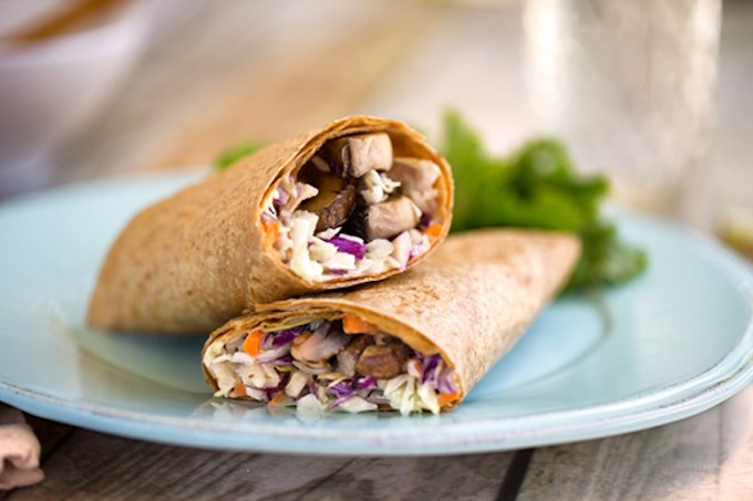 Creamy coleslaw and portobello wraps