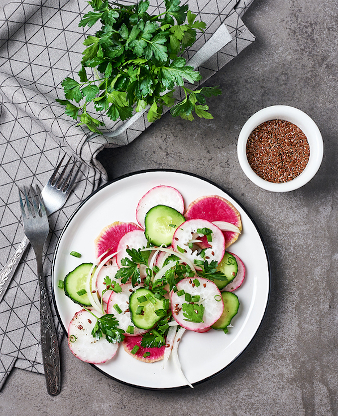 Watermelon radish salad with cucumber and onion