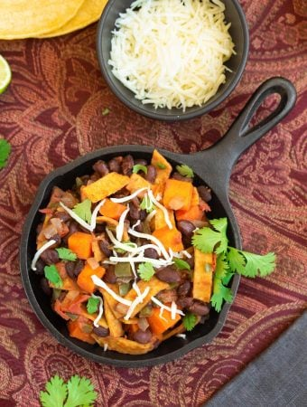 Skillet black beans with sweet potatoes & tortillas2 sm