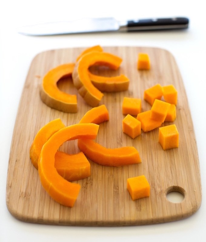 Baked butternut squash on a cutting board