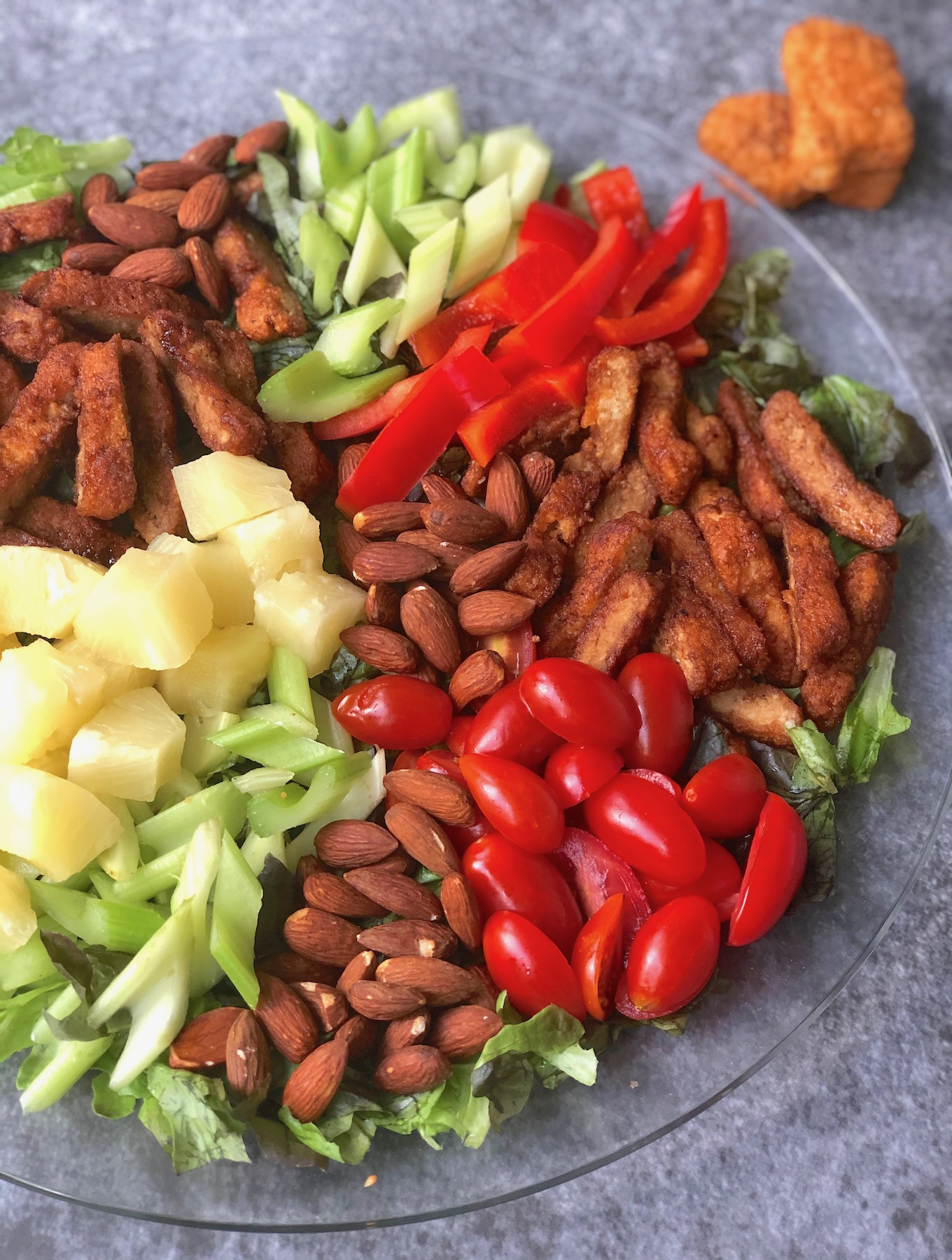 Vegan Teriyaki Chick'n Salad with Nuggs