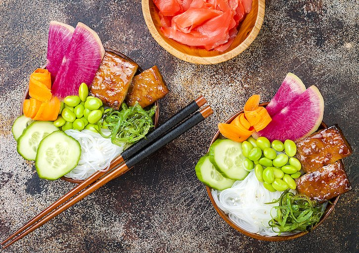Vegan poke bowl with watermelon radish