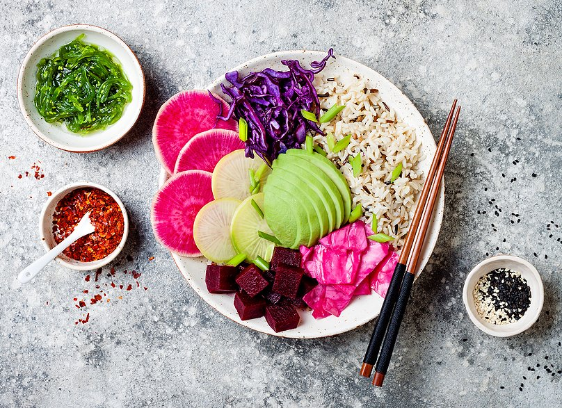 Vegan Poke Bowl With Avocado and watermelon radish