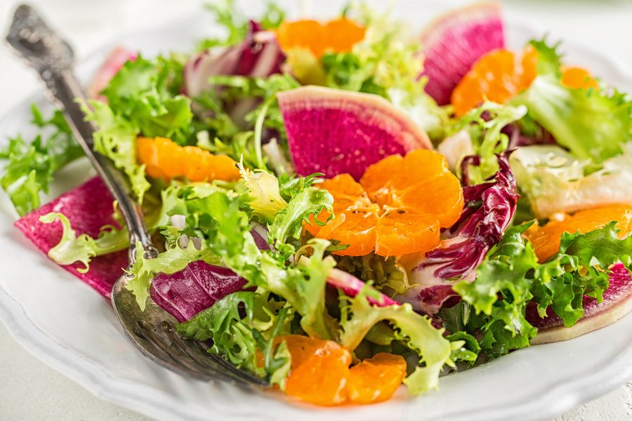 Green Salad With Watermelon Radish and oranges