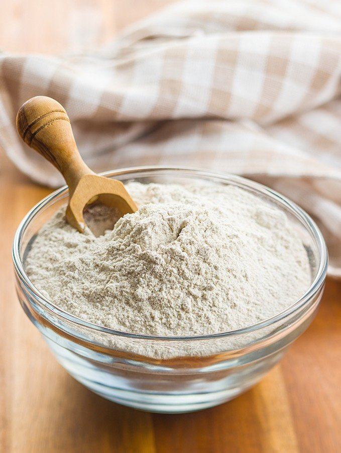 Whole wheat flour in a bowl