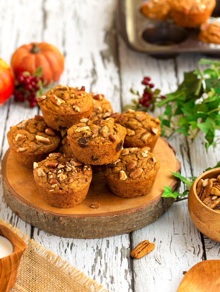 Chocolate, fruit, and nut pumpkin-cranberry muffins