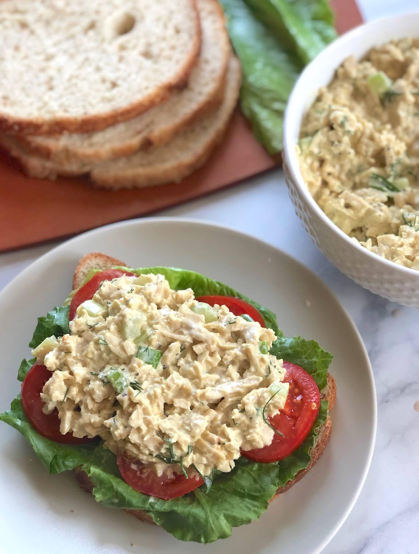 Classic vegan chick'n salad sandwich